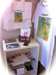A display of Cindy's work at the Wonky Frog in Blytn, Ontario.